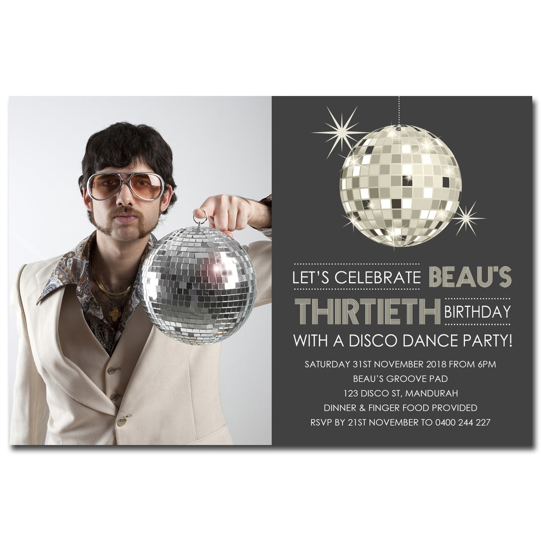 Beau - Disco Dance Birthday Invitation with Photo