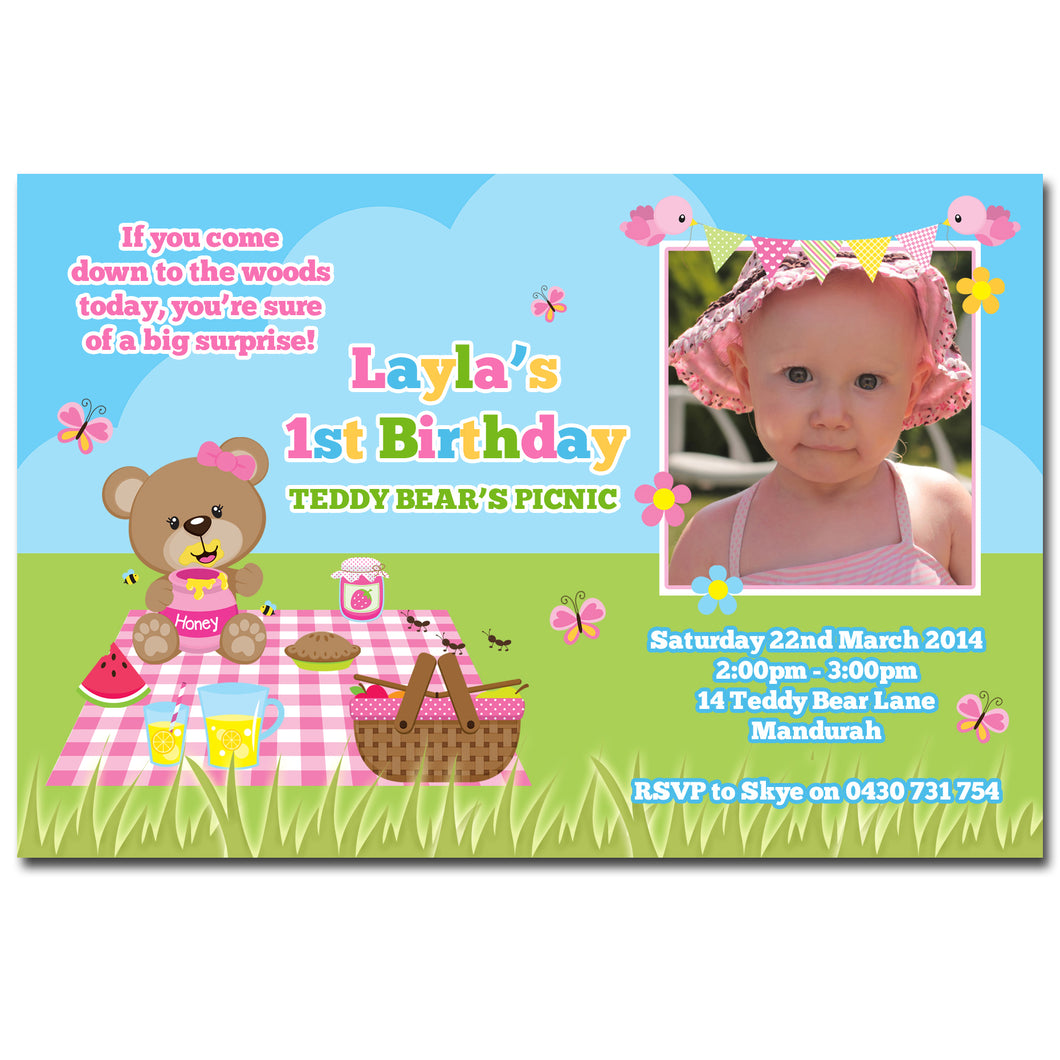 Layla - Teddy Bear Picnic Birthday Invitation with Photo – Deezee ...