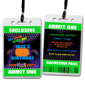 Jace - Neon Fluoro VIP Lanyard Birthday Invitation