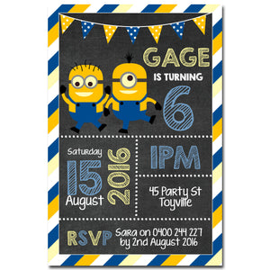 Gage - Minions Chalkboard Birthday Invitation