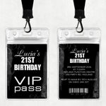 Lucia - Black & White VIP Lanyard Birthday Invitation