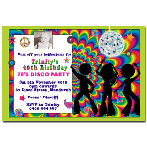 Trinity - Disco Hippie Birthday Invitation