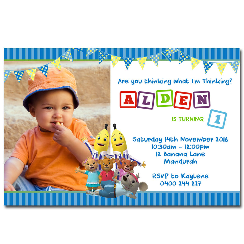 Alden - Bananas in PJ's Birthday Invitation with Photo