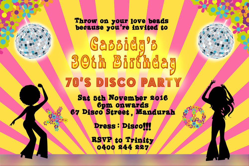 Cassidy - Disco Hippie Birthday Invitation