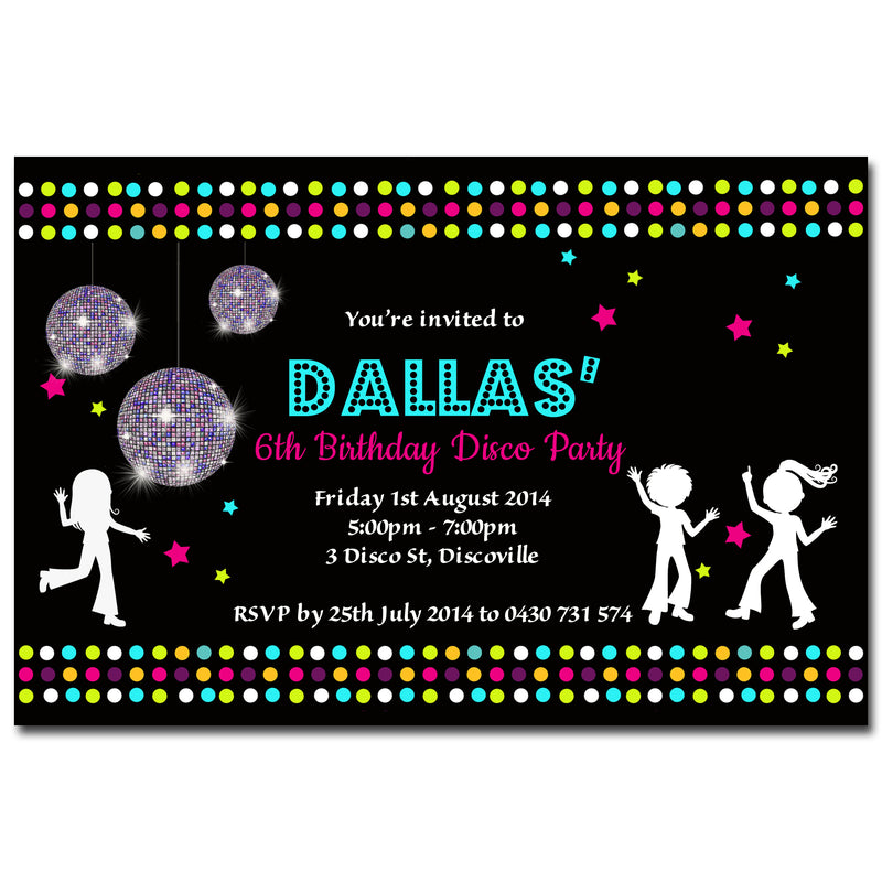 Dallas - Disco Dance Birthday Invitation