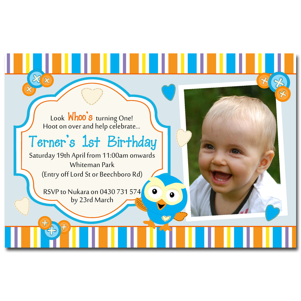 Terner - Hoot Birthday Invitation with Photo