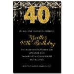 Yvette - Gold Bling Birthday Invitation
