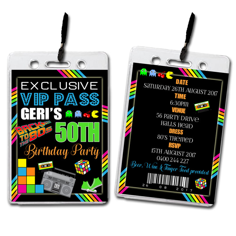 Geri - Eighties Themed VIP Lanyard Birthday Invitation