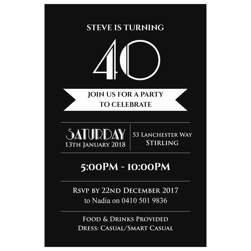 Steve - Black & White Birthday Invitation
