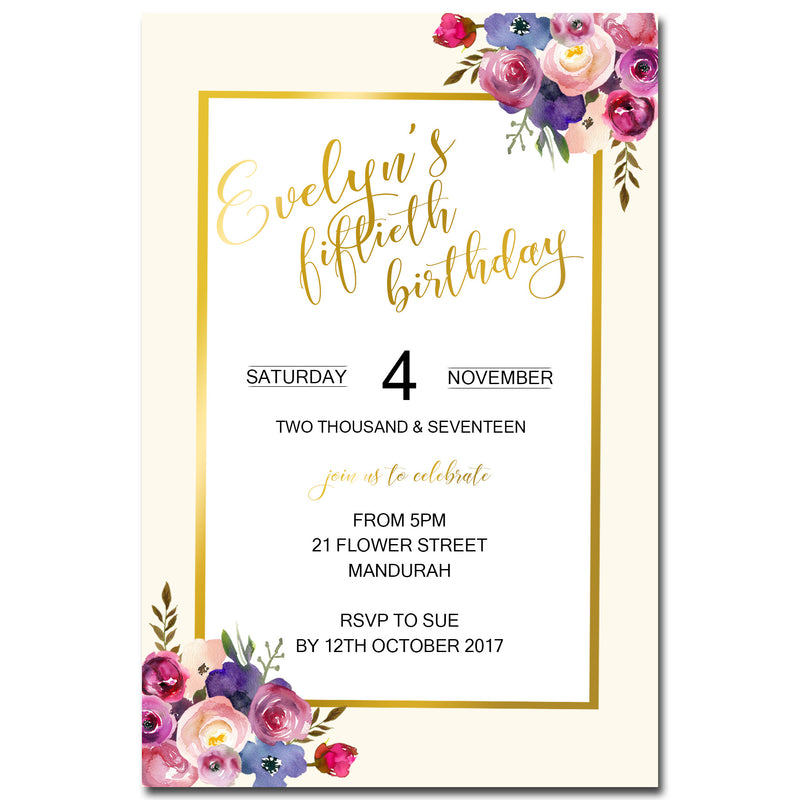 Evelyn - Floral Birthday Invitation