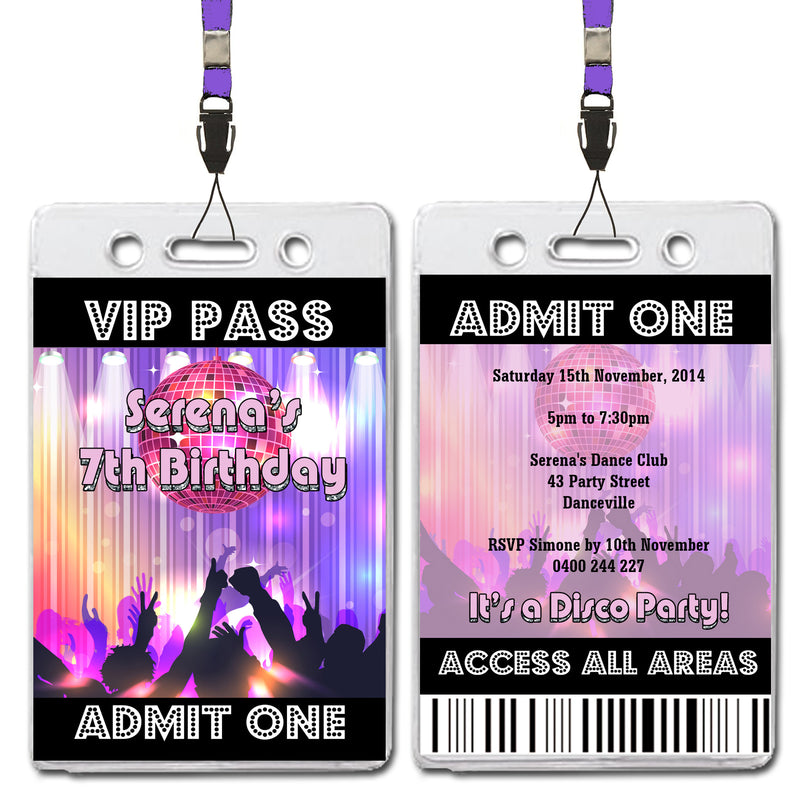Serena - Disco Dance VIP Lanyard Birthday Invitation
