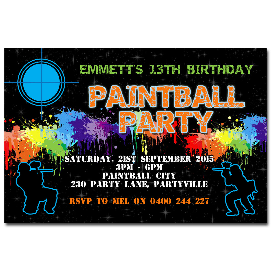 Emmett - Paintball Birthday Invitation