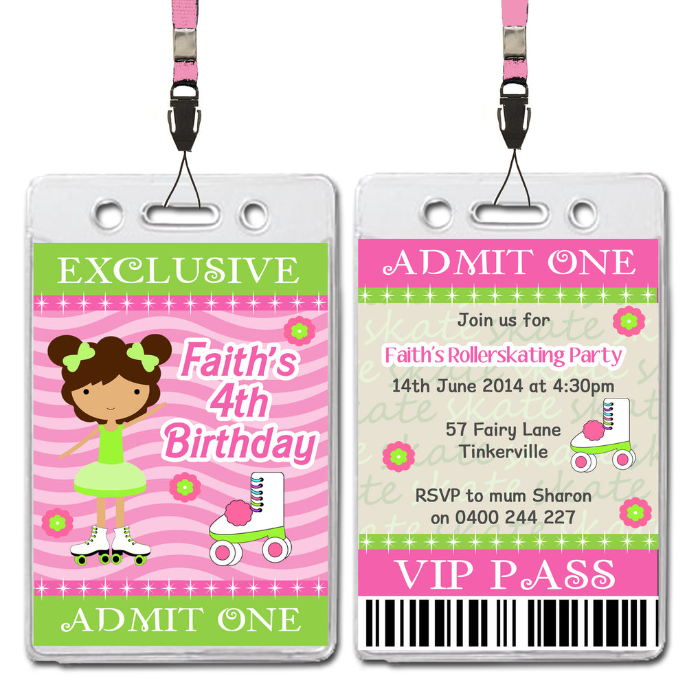 Janey - Rollerskating VIP Lanyard Birthday Invitation