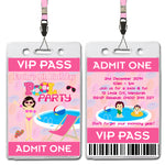 Emily - Pool Party VIP Lanyard Birthday Invitation