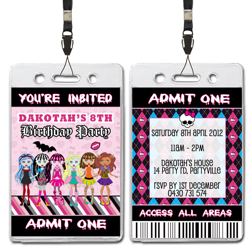 Dakotah - Monster High VIP Lanyard Birthday Invitation
