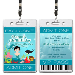 Aaron - Under The Sea VIP Lanyard Birthday Invitation