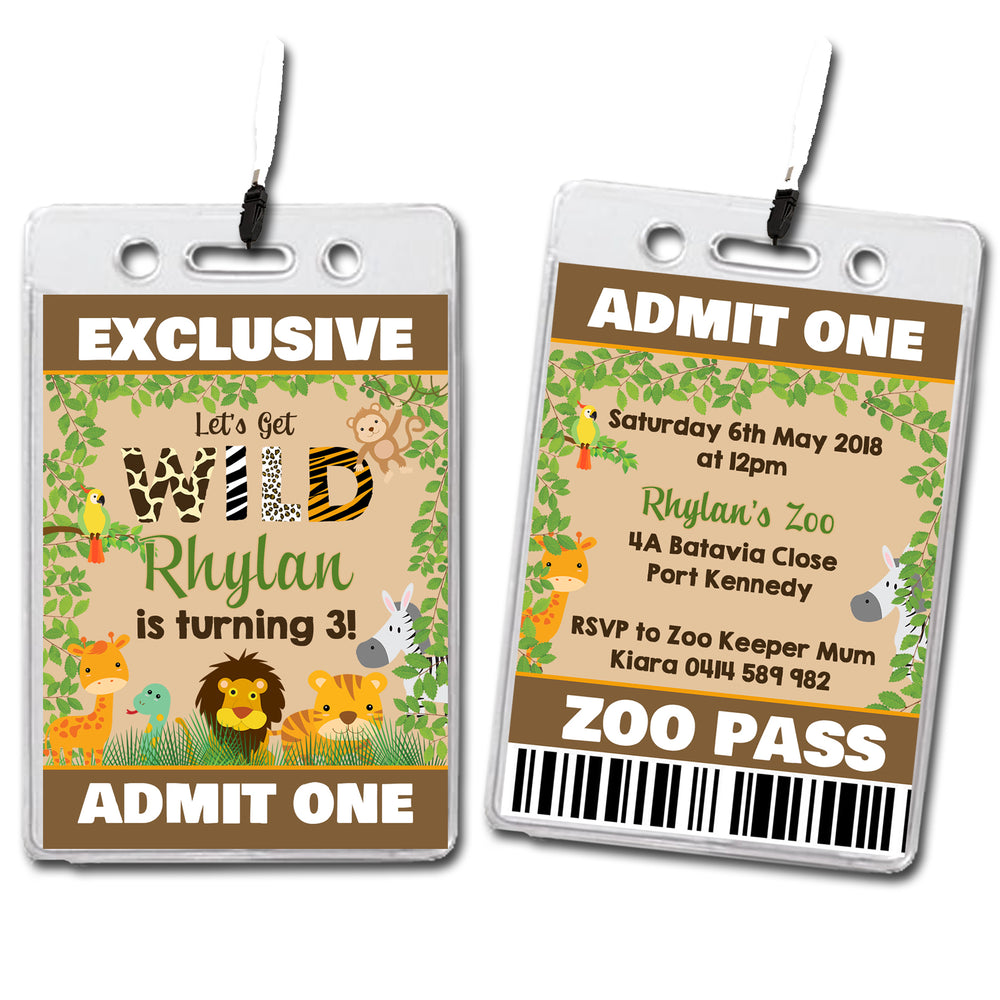 Rhylan - Jungle Animal VIP Lanyard Birthday Invitation