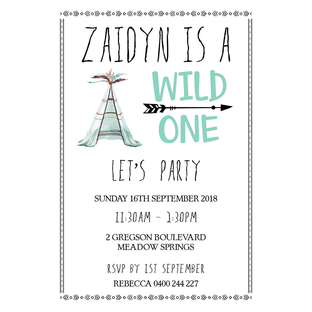 Zaidyn - Wild One Birthday Invitation