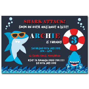 Archie - Shark Themed Birthday Invitation