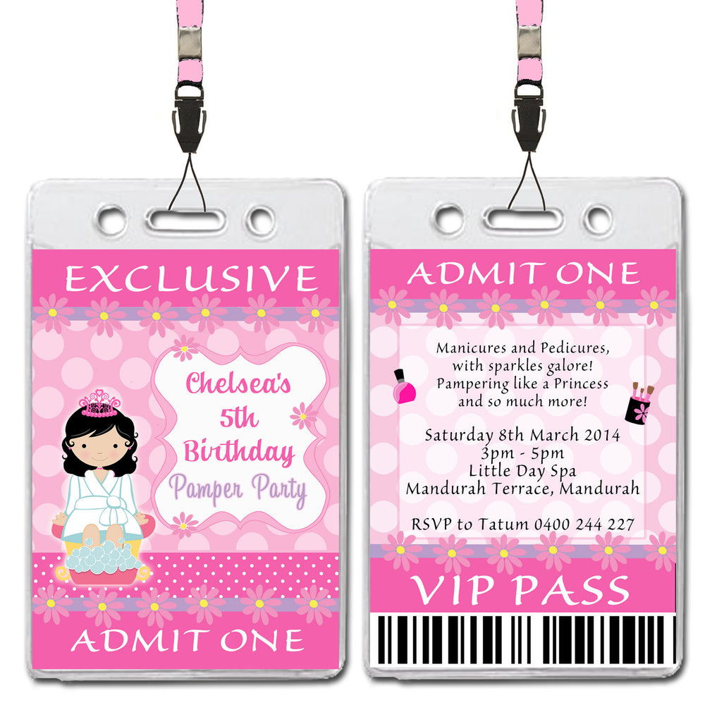 Chelsea - Pamper Spa Party VIP Lanyard Birthday Invitation