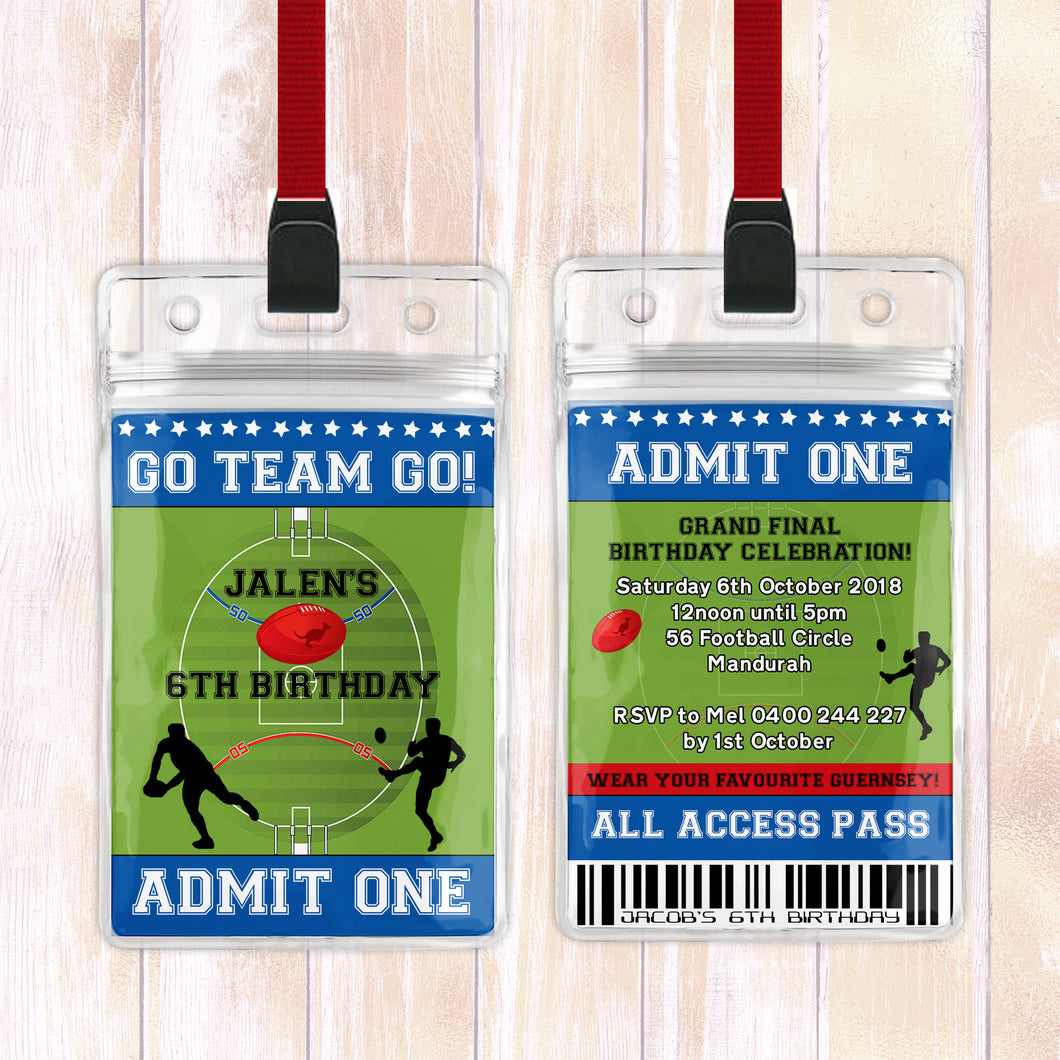 Jalen - AFL Football VIP Lanyard Birthday Invitation