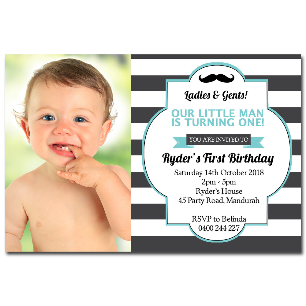 Ryder - Moustache Birthday Invitation with Photo