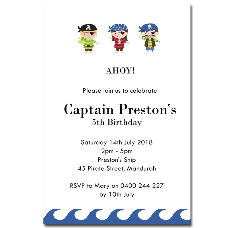 Preston - Pirate Themed Birthday Invitation