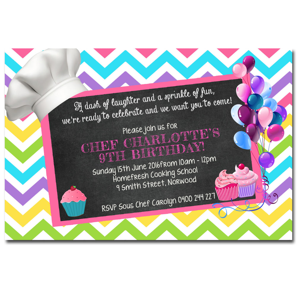 Charlotte - Chef Cooking Birthday Invitation