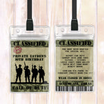 Zayden - Army Themed VIP Lanyard Birthday Invitation