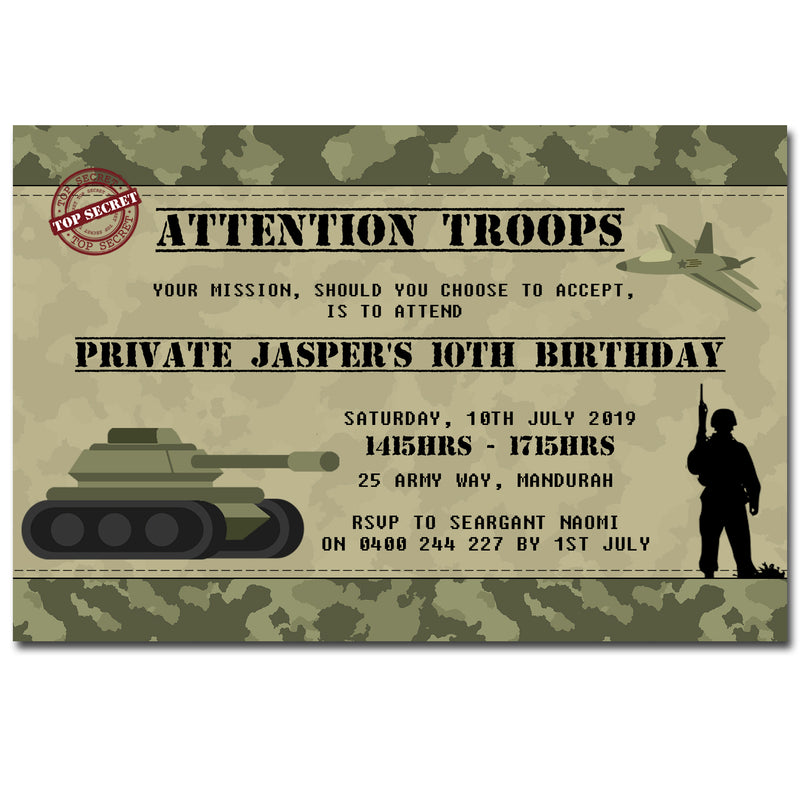Jasper - Army Themed Birthday Invitation