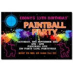 Ebony - Paintball Birthday Invitation