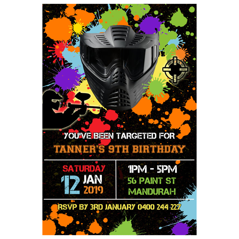Tanner - Paintball Birthday Invitation