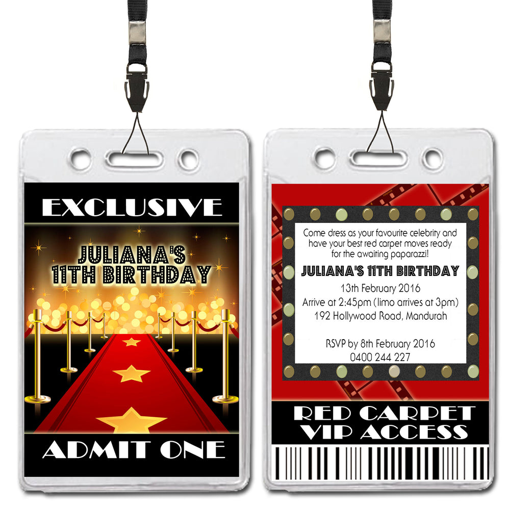 Juliana - Hollywood Red Carpet VIP Lanyard Birthday Invitation