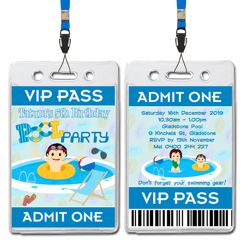 Tatum - Pool Party VIP Lanyard Birthday Invitation