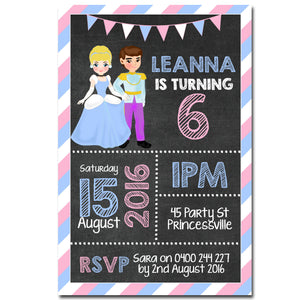 Leanna - Cinderella Chalkboard Birthday Invitation