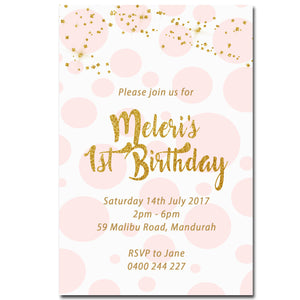 Meleri - Gold Glitter Birthday Invitation