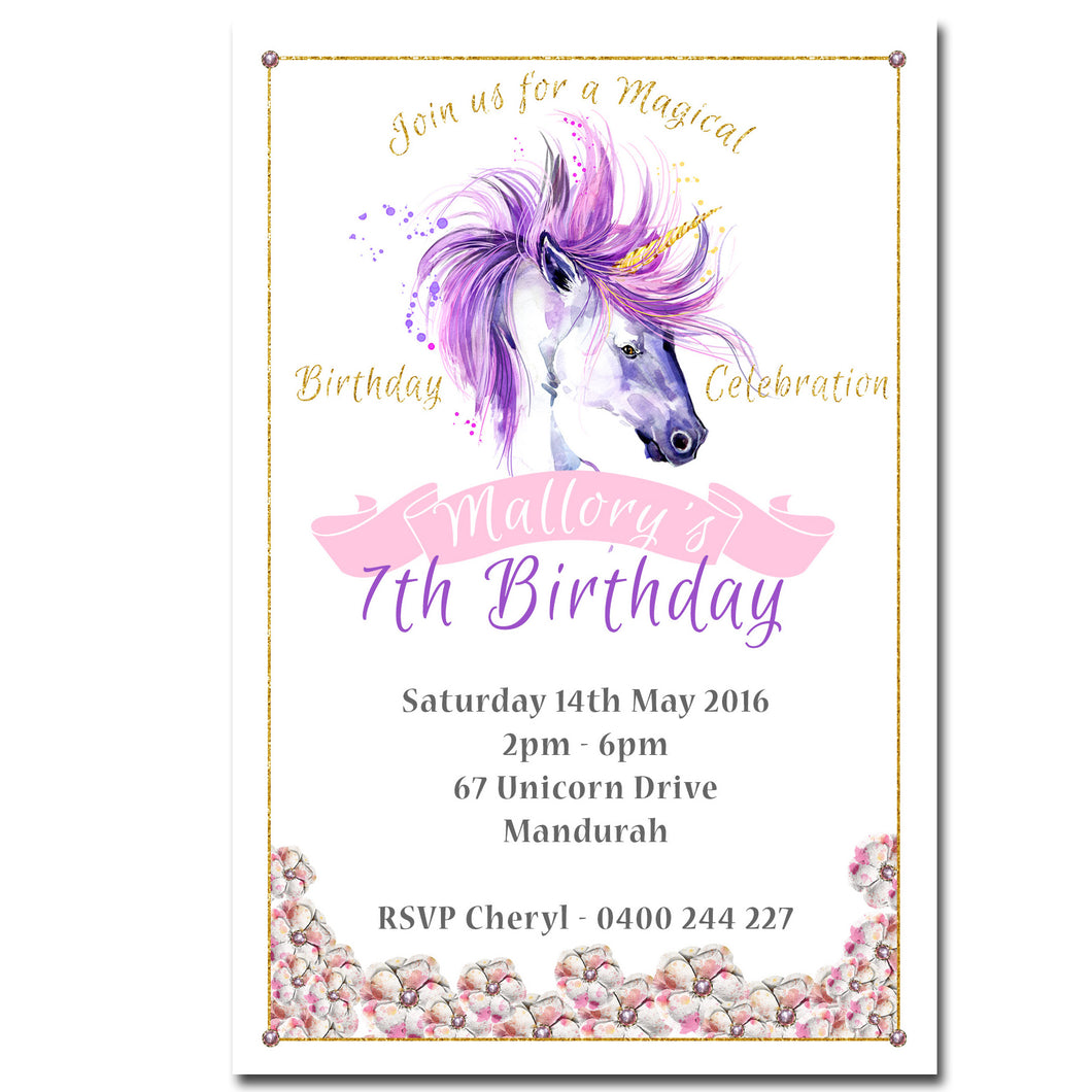 Mallory - Watercolour Unicorn Birthday Invitation