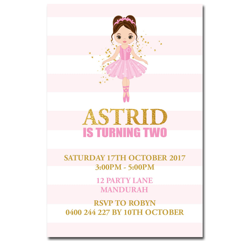Astrid - Ballerina Dance Birthday Invitation