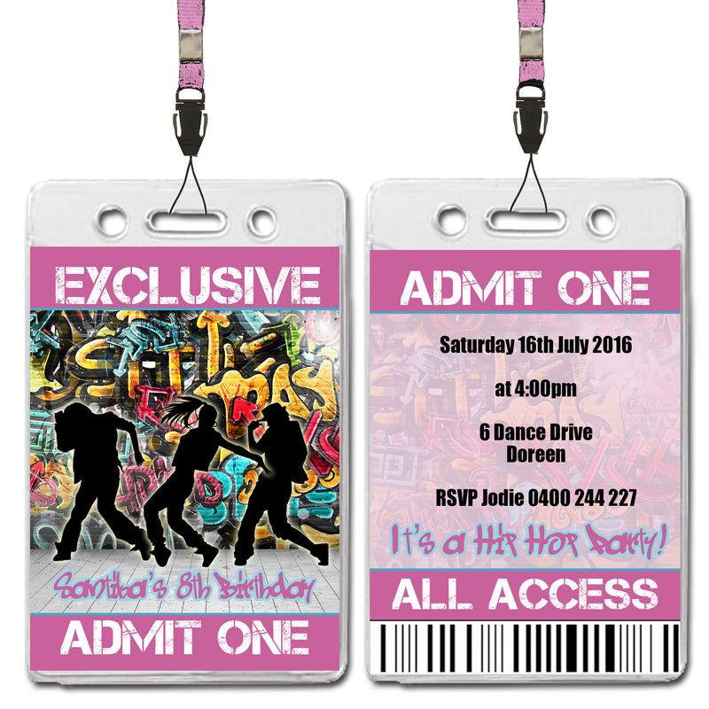 Santika - Hip Hop VIP Lanyard Birthday Invitation