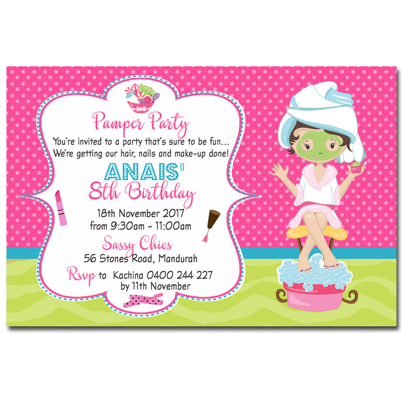 Anais - Pamper Spa Party Birthday Invitation – Deezee Designs