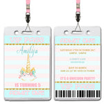 Amilija - Unicorn VIP Lanyard Birthday Invitation