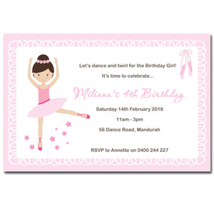 Miliana - Ballerina Dance Birthday Invitation