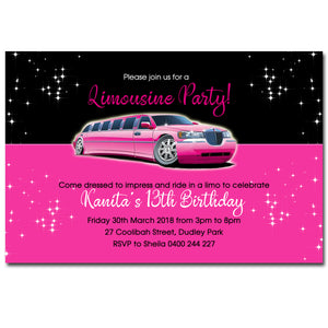 Kanita - Pink Limousine Birthday Invitation