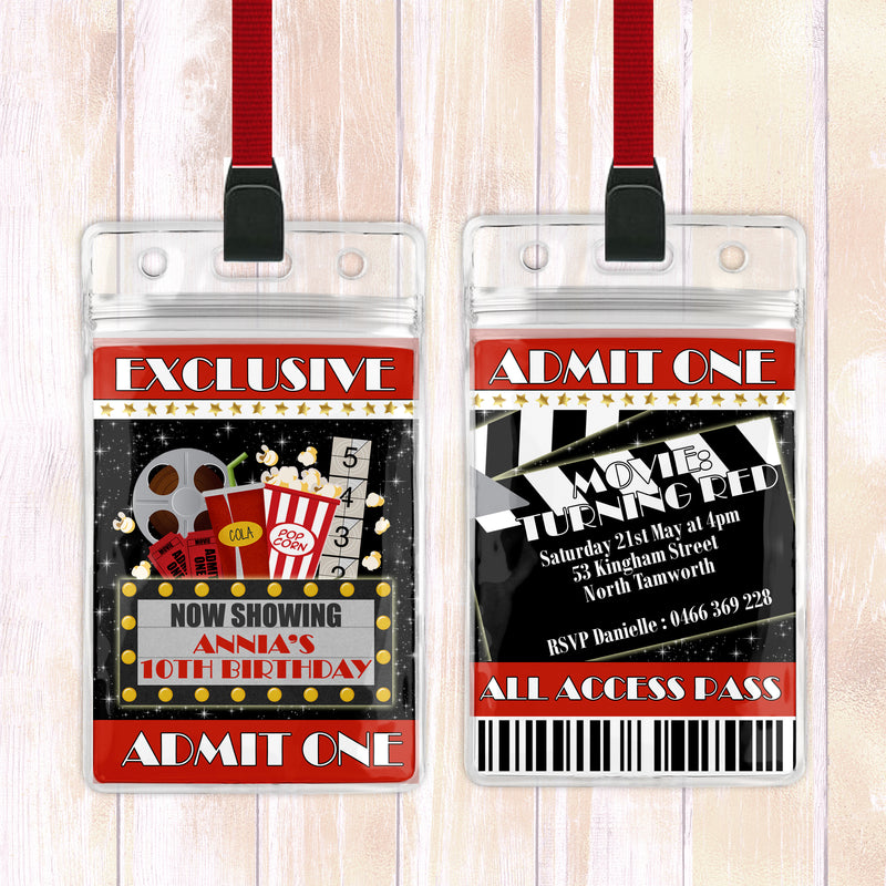 Annia - Movie Ticket VIP Lanyard Birthday Invitation