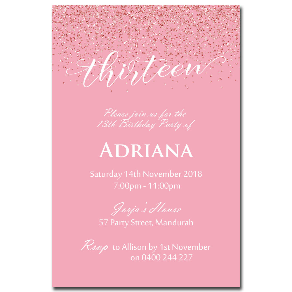 Adriana - Pink Glitter Bling Birthday Invitation