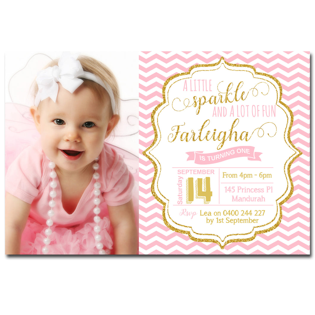 Farleigha - Pink & Gold Birthday Invitation with Photo