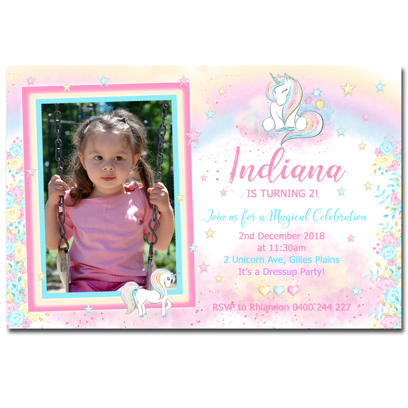 Indiana - Rainbow Unicorn Birthday Invitation with Photo