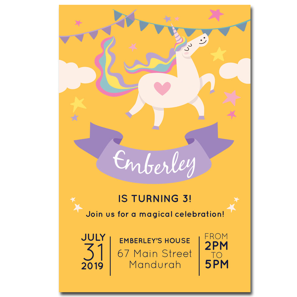 Emberley - Unicorn Birthday Invitation