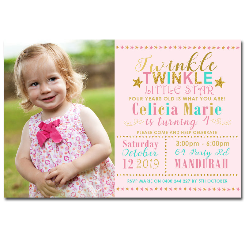 Celicia - Twinkle Little Star Birthday Invitation with Photo