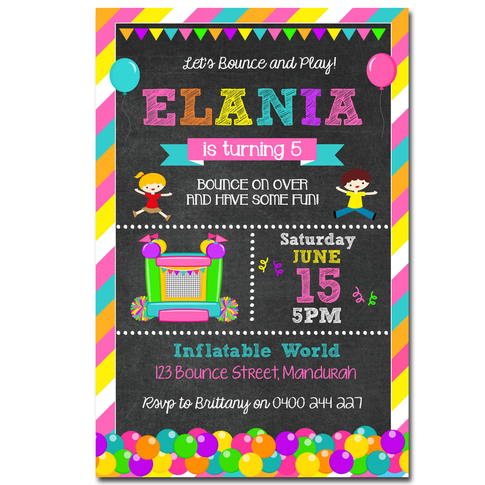 Elania - Bounce Themed Chalkboard Birthday Invitation